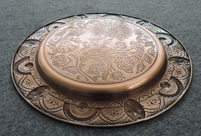 indian tray red copper